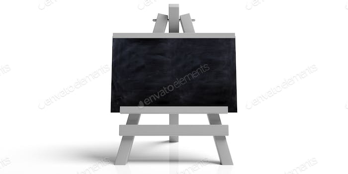 Blackboard on wooden easel, isolated, copy space, white background, 3d illustration.