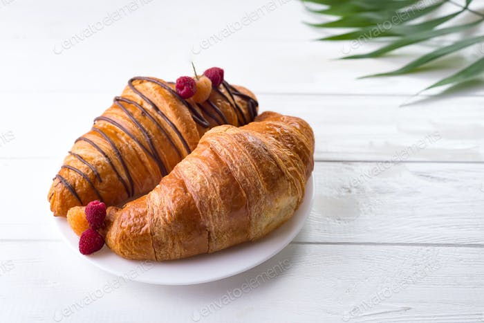 Fresh Croissant with berries and palm leave isolated on white wooden background , copy space