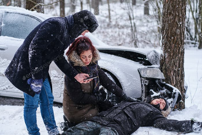 Car accident in winter vorest with one injured