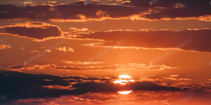 Bright Orange And Yellow Warm Colors Sun In Sunset Sunrise Sky C
