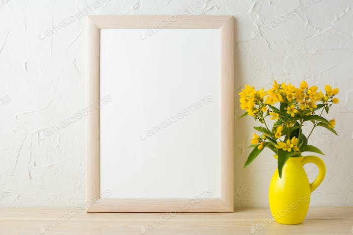 Frame mockup with yellow flowers in stylized pitcher vase