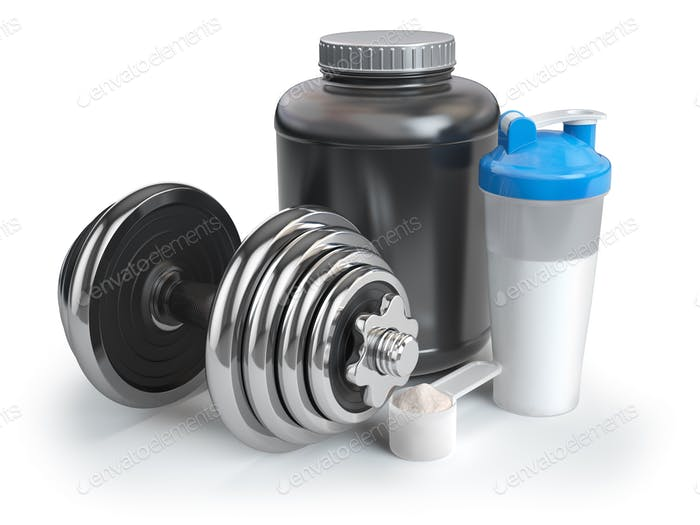 Whey protein powder  in scoop with shaker and dumbbell. Bodybuil