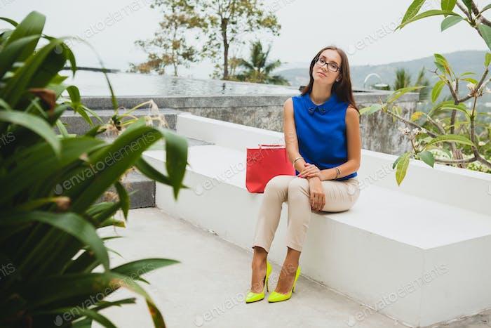 young stylish beautiful woman, summer fashion trend