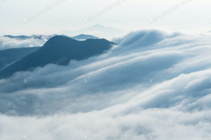 clouds from waterfalls closeup