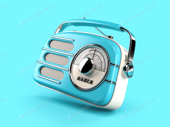 Blue vintage radio on blue background.