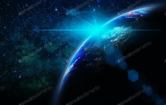 Teil der Erde mit Sonnenaufgang und Blendenfleck über dem Hintergrund der Milchstraße,