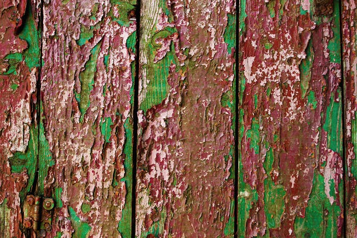 aged old painted wood texture, wooden background  wallpaper, red and green