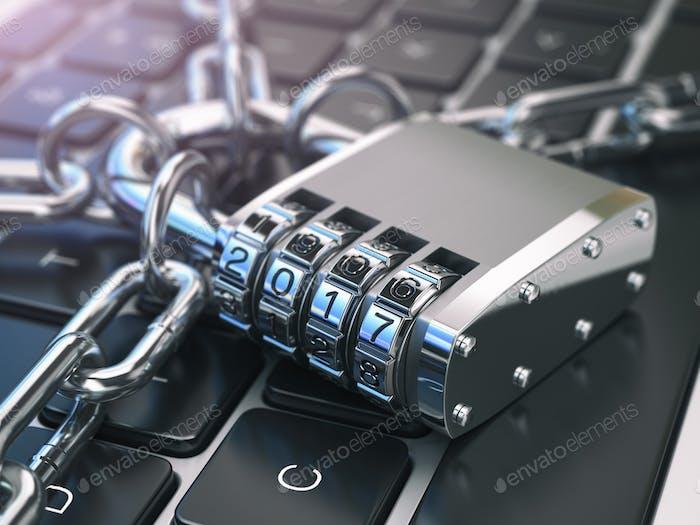 .Computersicherheit oder Sicherheitskonzept. Laptop-Tastatur mit Schloss