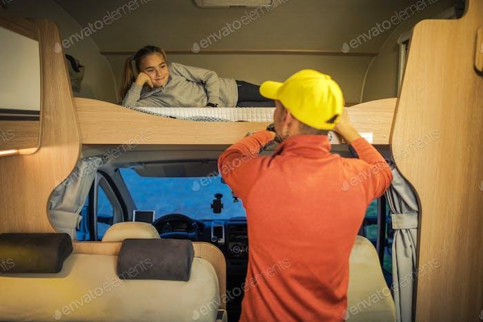 RV Camper Bed Time