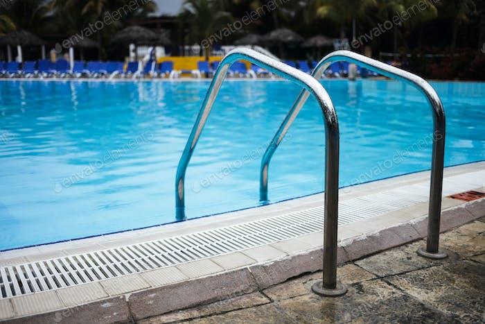 Empty Swimming Pool Ladder