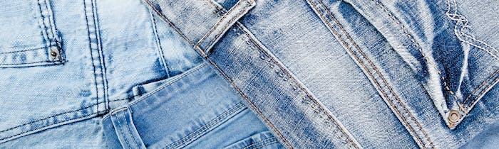 Banner of Jean background. Denim blue jean texture.