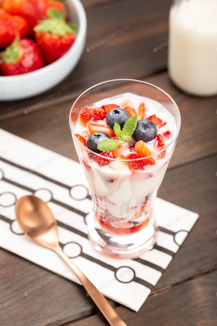 strawberries, yogurt and blueberries dessert