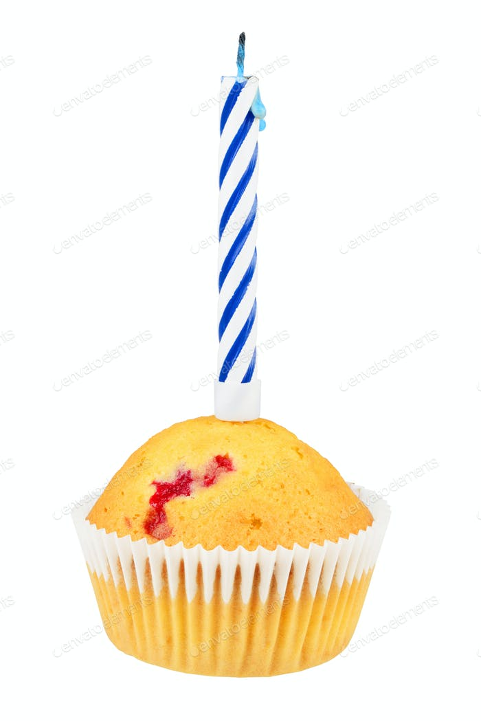 Birthday cupcake isolated