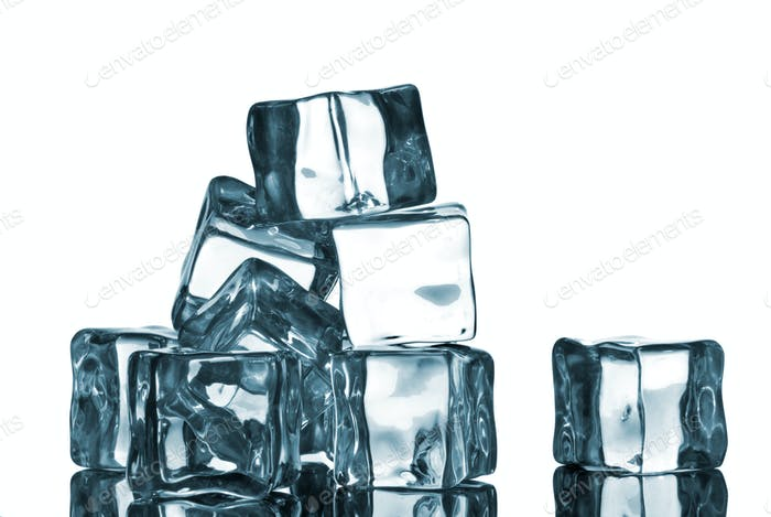 ice cubes with water drops isolated on white
