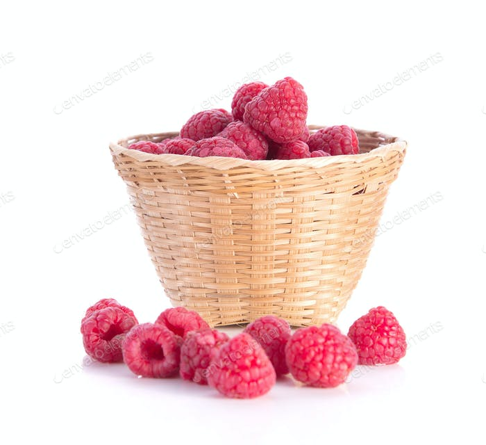 Berry , Bamboo baskets on white background.