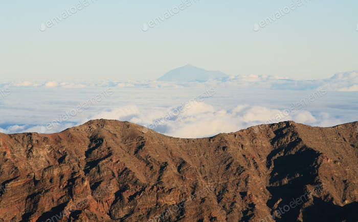 View of Teide peak from El Roque de los muchachos, the higher point in La Palma island