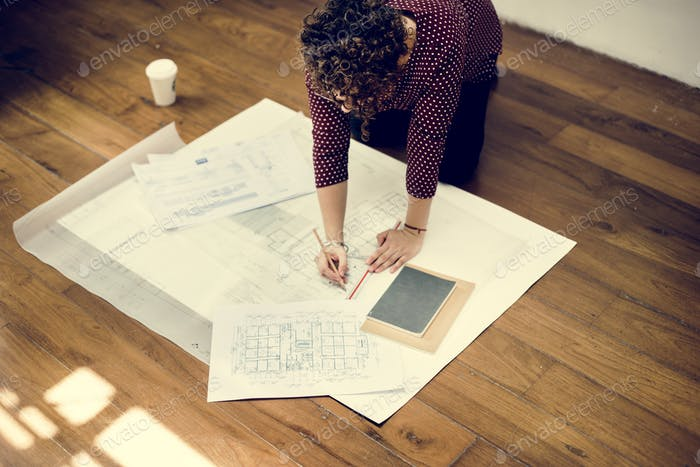 Woman working on document work