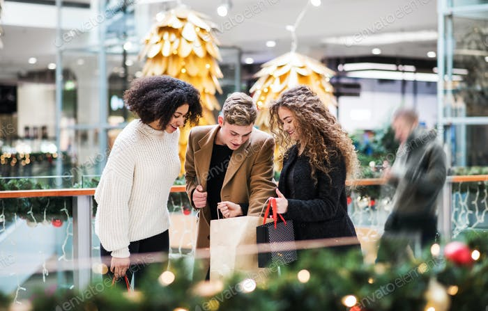 Young friends standing in shopping center at Christmas time, looking inside bags.