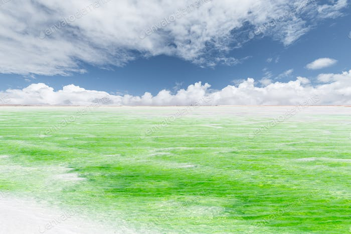 jade lake with sunny sky