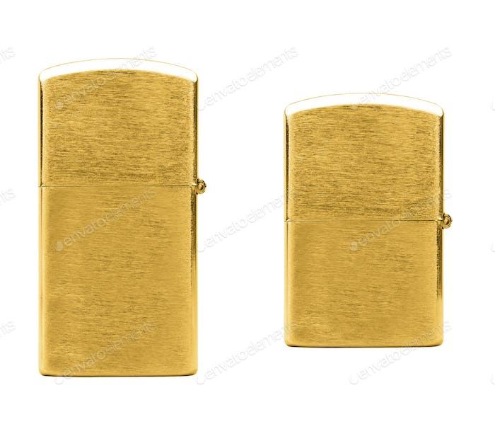 Elegant golden gas cigarette lighter isolated on white background