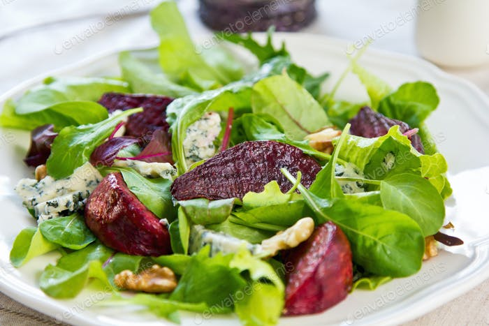 Roasted Beetroot with Blue cheese and Walnut salad