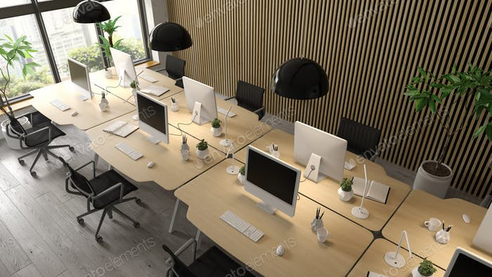 Interior of modern office room 3D rendering
