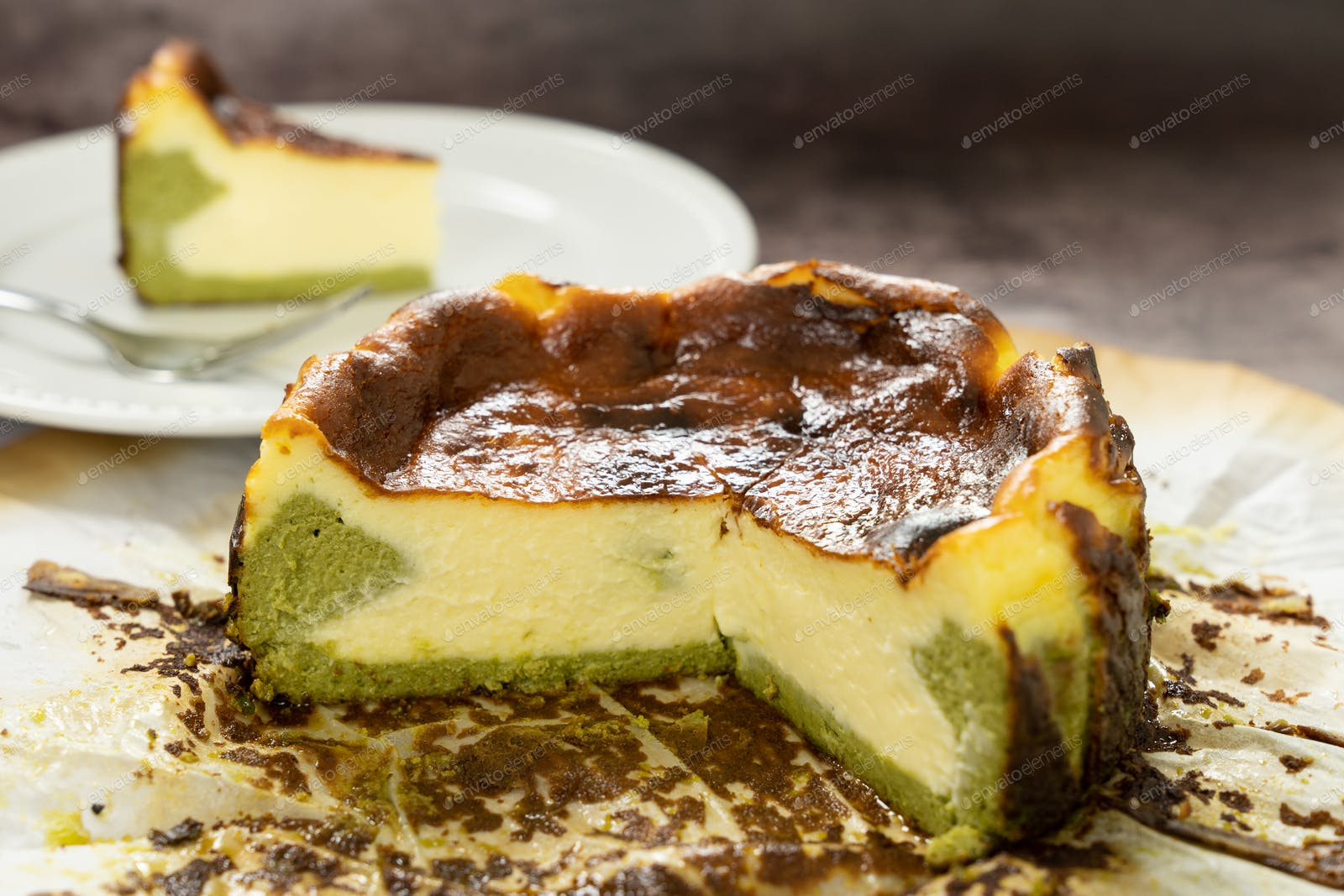 Matcha Basque Burnt Cheesecake Photo By Kenishirotie On Envato Elements