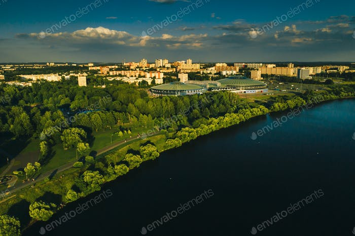 Top view of the city Park and sports complex in Chizhovka.Recreation Park with bike paths in Minsk