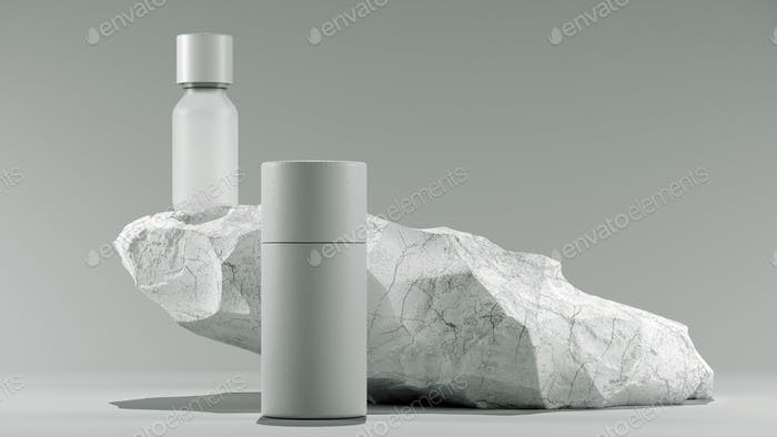 bottle of essential massage oil on stone - beauty treatment. Minimal white design packaging mock up