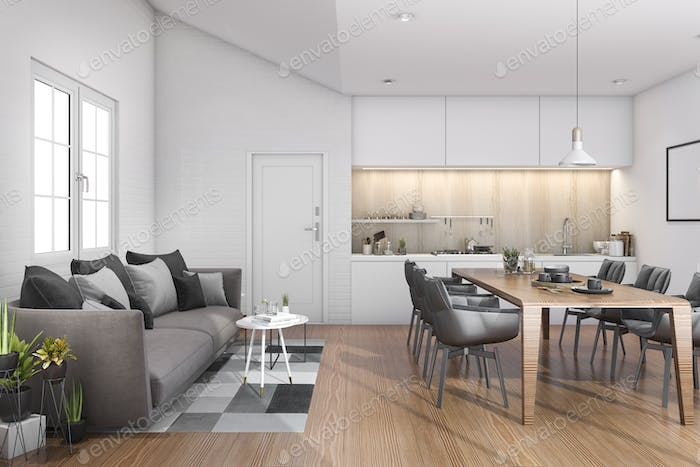 3d rendering wood loft kitchen with bar and sofa near door