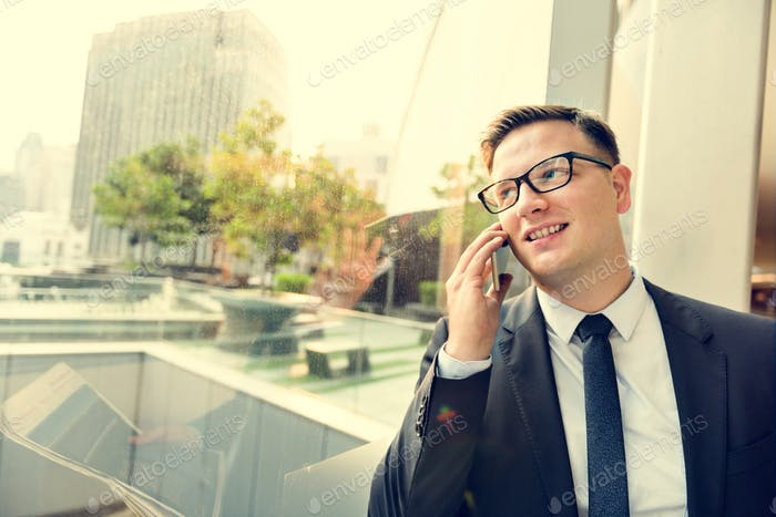 Businessman Working Talking Phone Concept