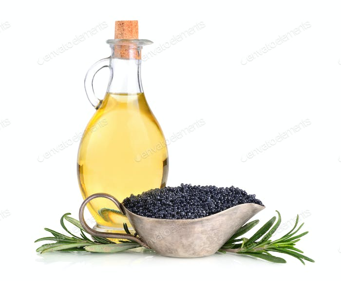 Olive oil and caviar