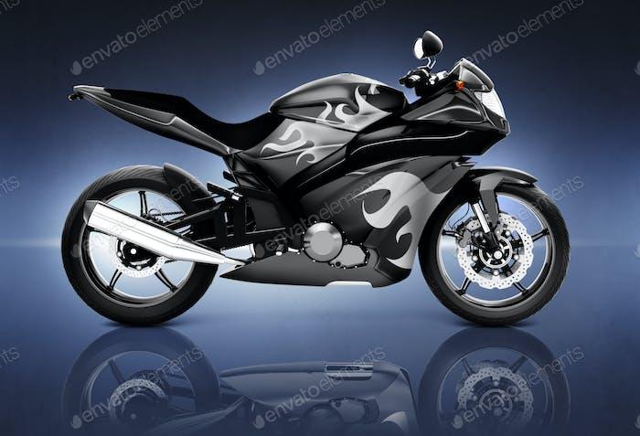 Studio Shot of Black Motor Cycle