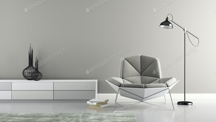 Part of interior with modern grey armchair 3D rendering
