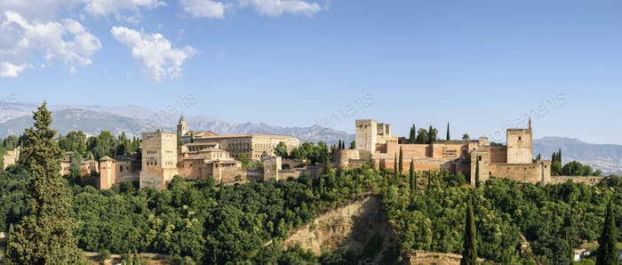 Exterior view, Alhambra palace, Granada, Andalusia, Spain.