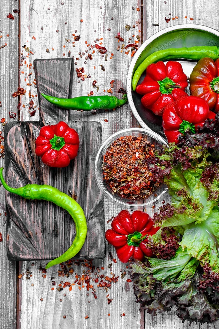Pfefferratunda und grüne Paprika