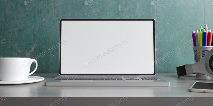 Laptop with blank screen on a desk. 3d illustration