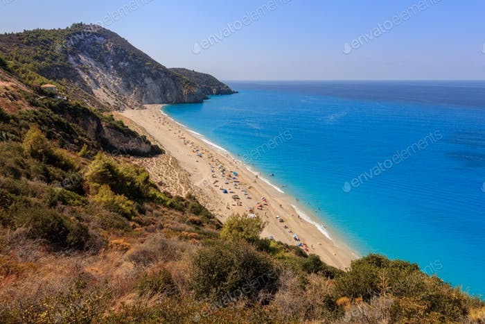 Milos beach on Lefkada island, Greece