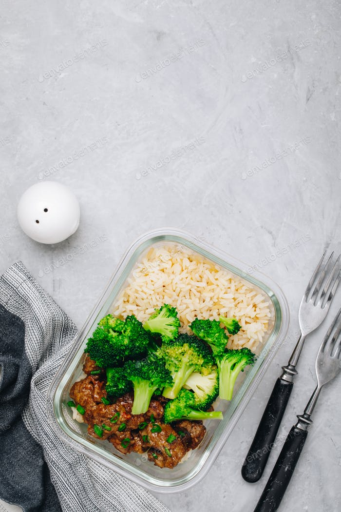 Beef Broccoli Stir Fry Meal Prep lunch box container