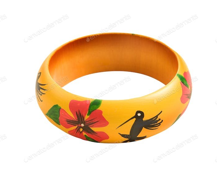 Hand made flowers and hummingbirds bangle
