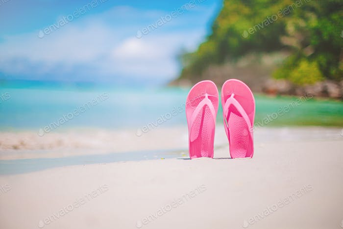 Colorful flipflop pair on the sea beach