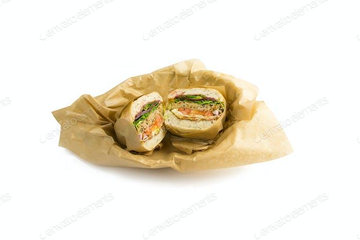 A cut sandwich, white background