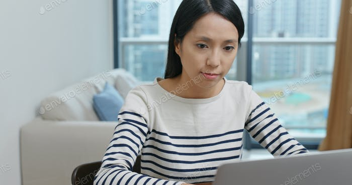 Woman study on laptop at home