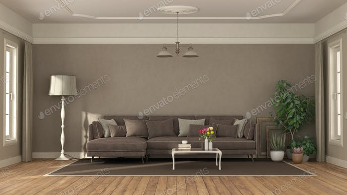 Elegant living room with sofa and coffee table