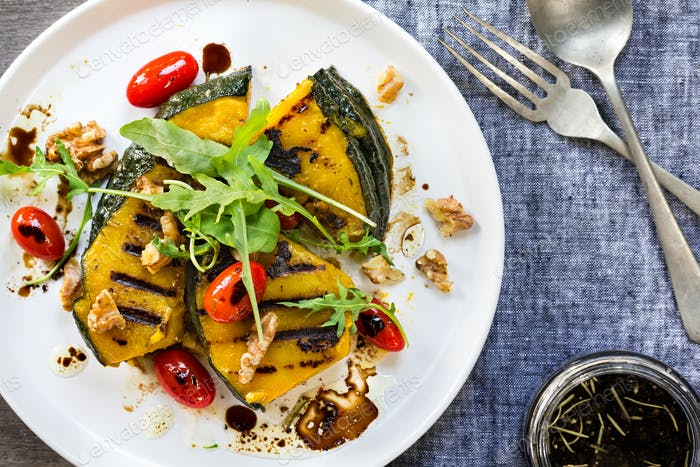 Grilled Pumpkin with Cherry Tomato ,Rocket, and Walnut Salad