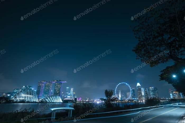 Singapore cityscape at dusk. Landscape of business modern building in Marina bay