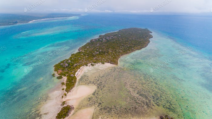 aerial view of the vundwe island in Zanzibar