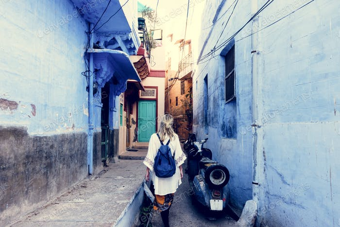 Western woman exploring the blue city, Jodhpur India