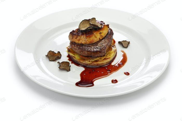 French beef steak dish with foie gras and truffles called Tournedos Rossini.