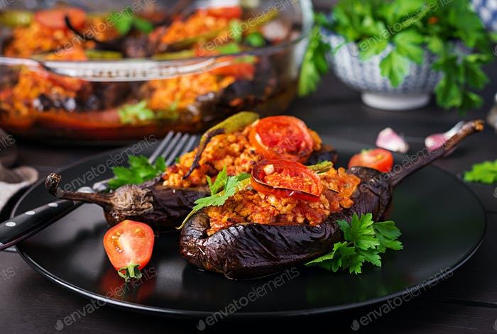 Karniyarik - turkish traditional aubergine eggplant meal. Stuffe
